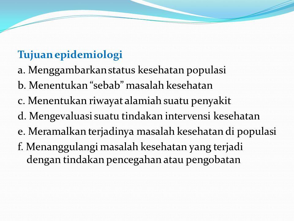 """Tujuan epidemiologi a. Menggambarkan status kesehatan populasi b. Menentukan """"sebab"""" masalah kesehatan c. Menentukan riwayat alamiah suatu penyakit d."""