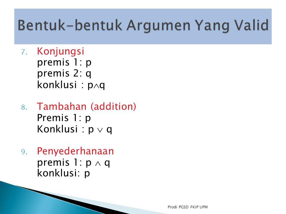 7.Konjungsi premis 1: p premis 2: q konklusi : p  q 8.