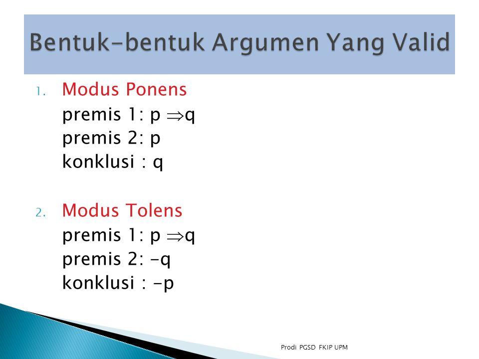 1.Modus Ponens premis 1: p  q premis 2: p konklusi : q 2.