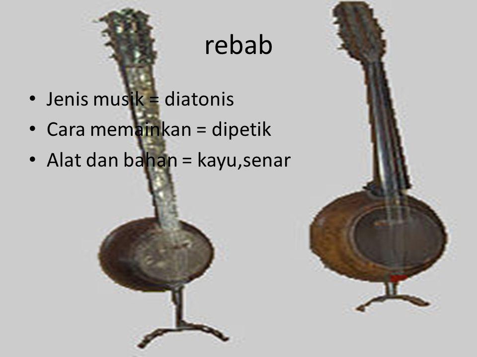 rebab Jenis musik = diatonis Cara memainkan = dipetik Alat dan bahan = kayu,senar