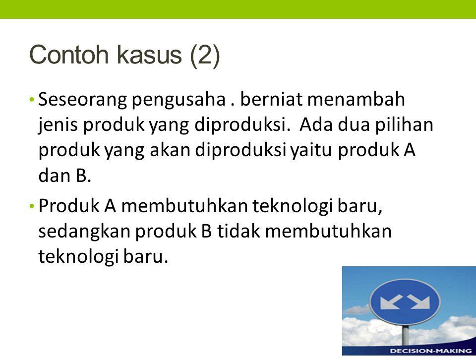Contoh kasus (2) Seseorang pengusaha.berniat menambah jenis produk yang diproduksi.