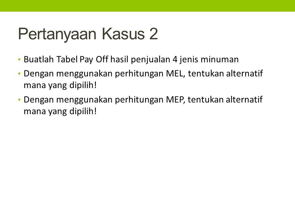Pertanyaan Kasus 2 Buatlah Tabel Pay Off hasil penjualan 4 jenis minuman Dengan menggunakan perhitungan MEL, tentukan alternatif mana yang dipilih.