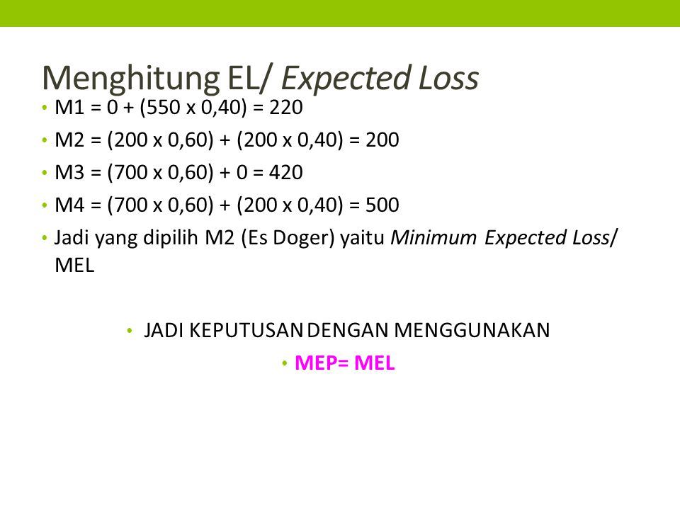 Menghitung EL/ Expected Loss M1 = 0 + (550 x 0,40) = 220 M2 = (200 x 0,60) + (200 x 0,40) = 200 M3 = (700 x 0,60) + 0 = 420 M4 = (700 x 0,60) + (200 x
