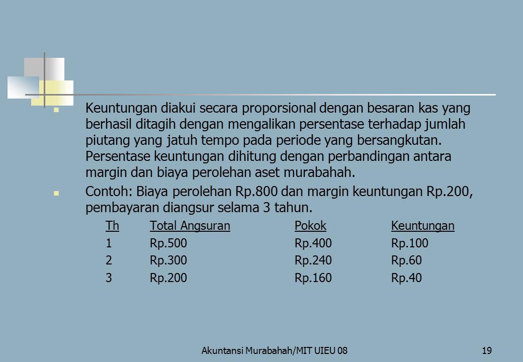 Akuntansi Murabahah/MIT UIEU 0819 Keuntungan diakui secara proporsional dengan besaran kas yang berhasil ditagih dengan mengalikan persentase terhadap