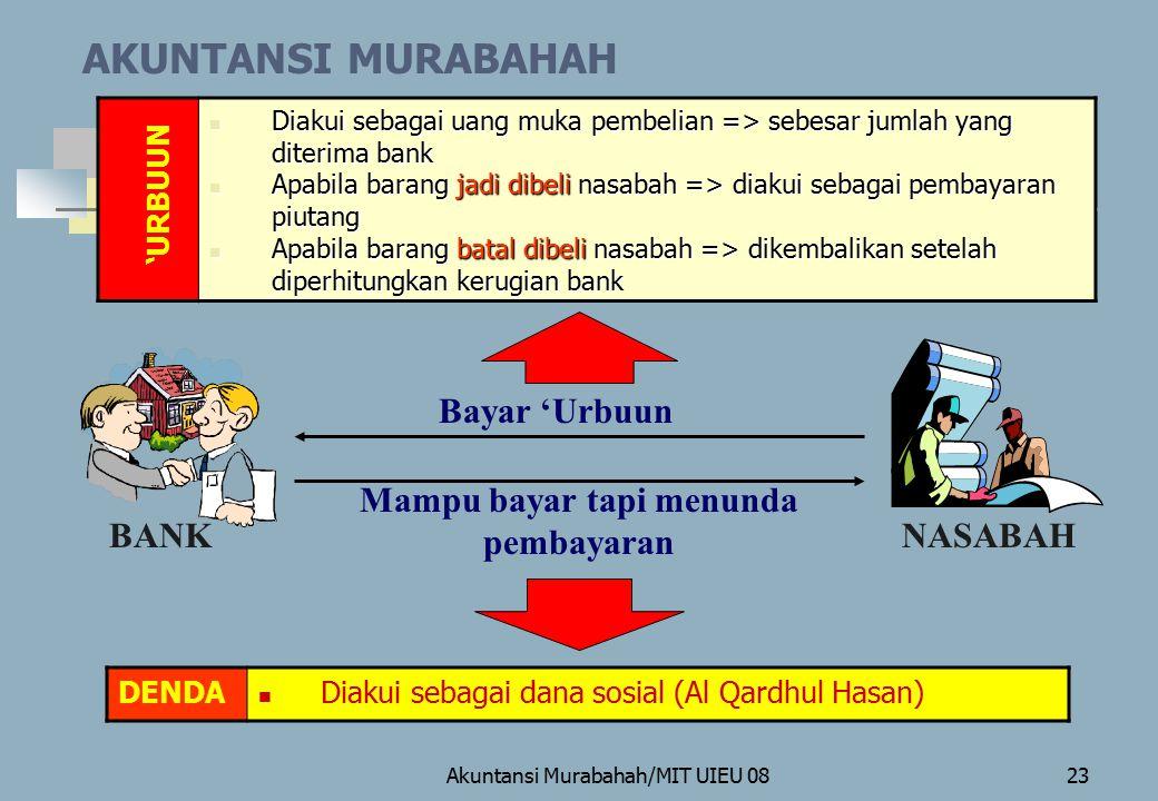 Akuntansi Murabahah/MIT UIEU 0823 AKUNTANSI MURABAHAH BANKNASABAH Diakui sebagai uang muka pembelian => sebesar jumlah yang diterima bank Diakui sebag