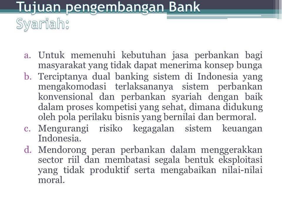 a.Untuk memenuhi kebutuhan jasa perbankan bagi masyarakat yang tidak dapat menerima konsep bunga b.Terciptanya dual banking sistem di Indonesia yang m