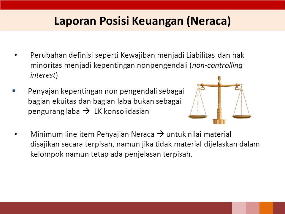 Laporan Posisi Keuangan (Neraca) Perubahan definisi seperti Kewajiban menjadi Liabilitas dan hak minoritas menjadi kepentingan nonpengendali (non-cont