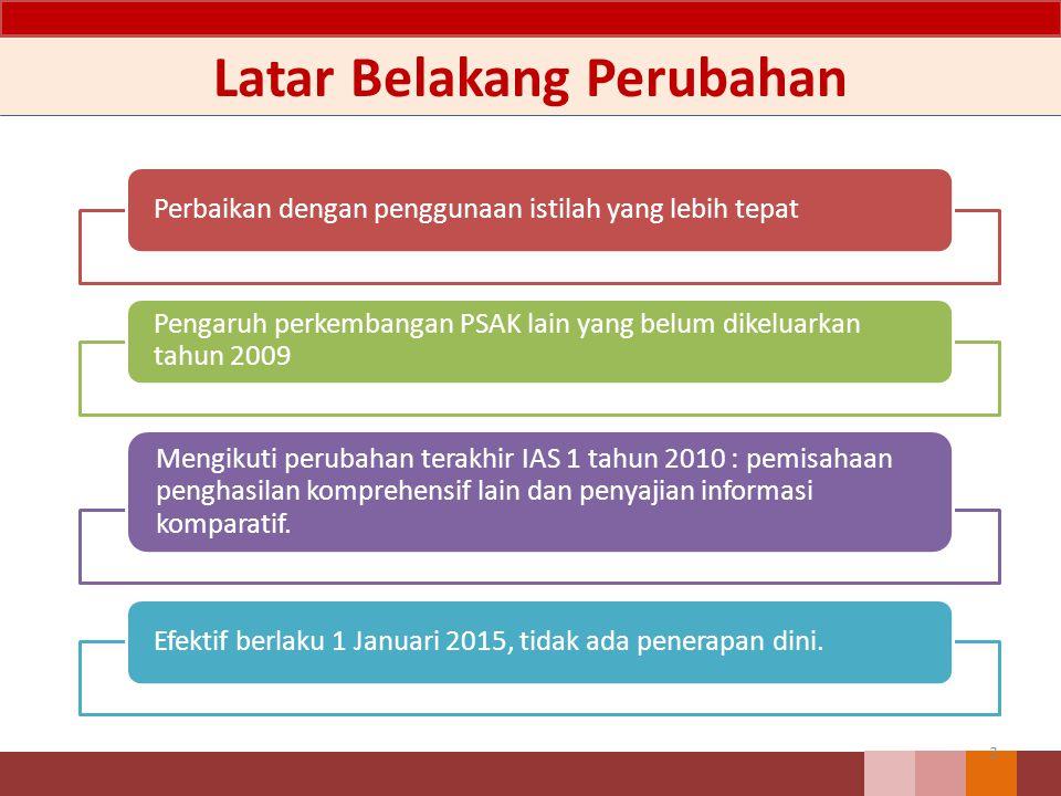 Ilustrasi Penerapam PSAK 1 R2013 24 Referensi : Laporan Tahunan BP 2014