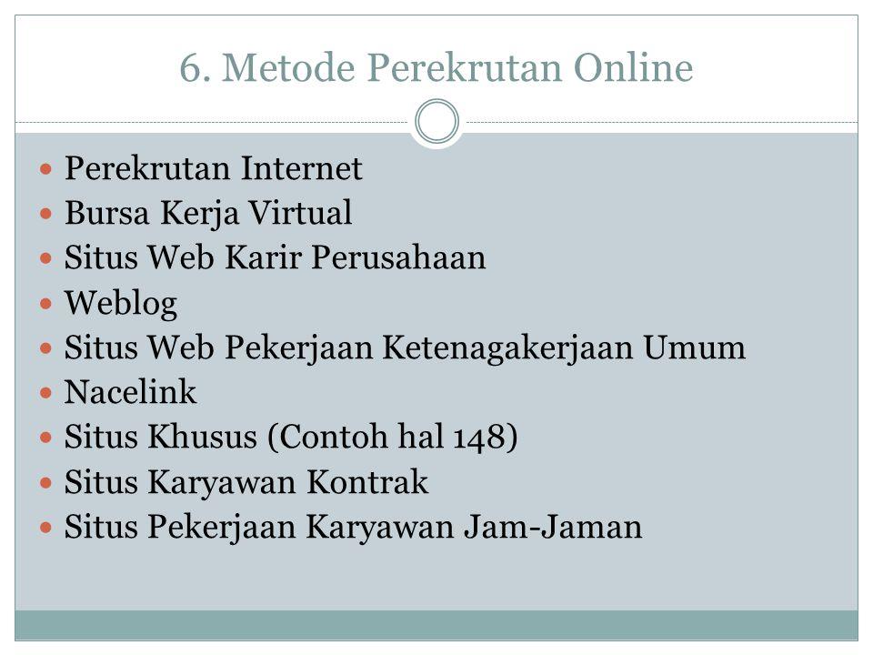 6. Metode Perekrutan Online Perekrutan Internet Bursa Kerja Virtual Situs Web Karir Perusahaan Weblog Situs Web Pekerjaan Ketenagakerjaan Umum Nacelin