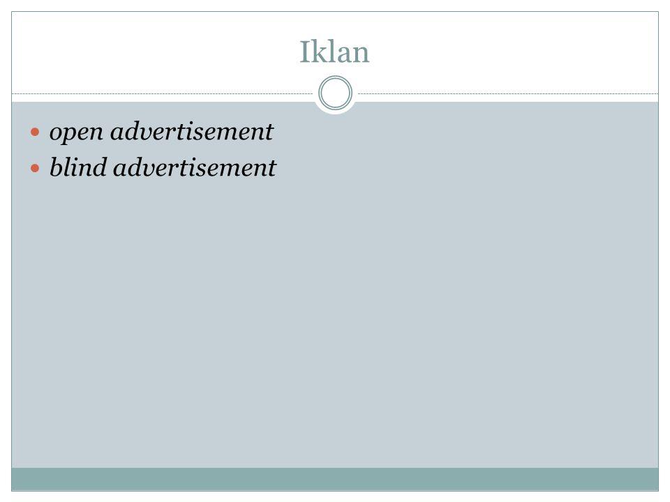 Iklan open advertisement blind advertisement