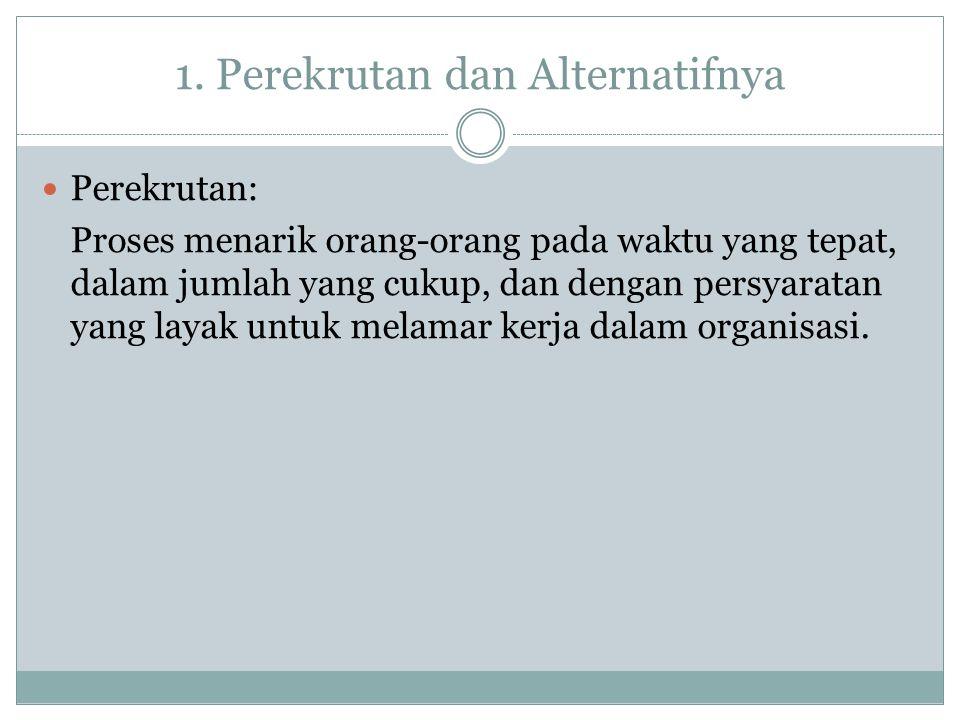 Alternatif-Alternatif Perekrutan Alih Daya (Outsourcing) Karyawan Tidak Tetap (Contigent Workers) Organisasi Pemberi Kerja Profesional (Persewaan Karyawan) Kerja Lembur
