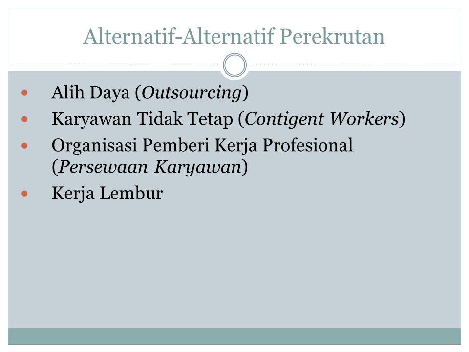 Alternatif-Alternatif Perekrutan Alih Daya (Outsourcing) Karyawan Tidak Tetap (Contigent Workers) Organisasi Pemberi Kerja Profesional (Persewaan Kary