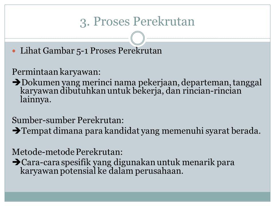 3. Proses Perekrutan Lihat Gambar 5-1 Proses Perekrutan Permintaan karyawan:  Dokumen yang merinci nama pekerjaan, departeman, tanggal karyawan dibut