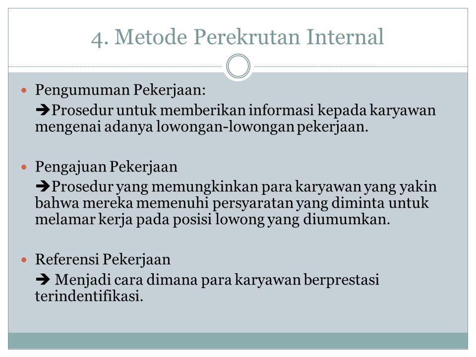 4. Metode Perekrutan Internal Pengumuman Pekerjaan:  Prosedur untuk memberikan informasi kepada karyawan mengenai adanya lowongan-lowongan pekerjaan.