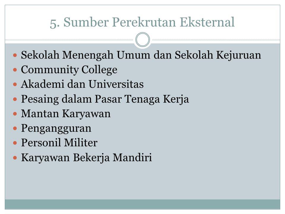 5. Sumber Perekrutan Eksternal Sekolah Menengah Umum dan Sekolah Kejuruan Community College Akademi dan Universitas Pesaing dalam Pasar Tenaga Kerja M