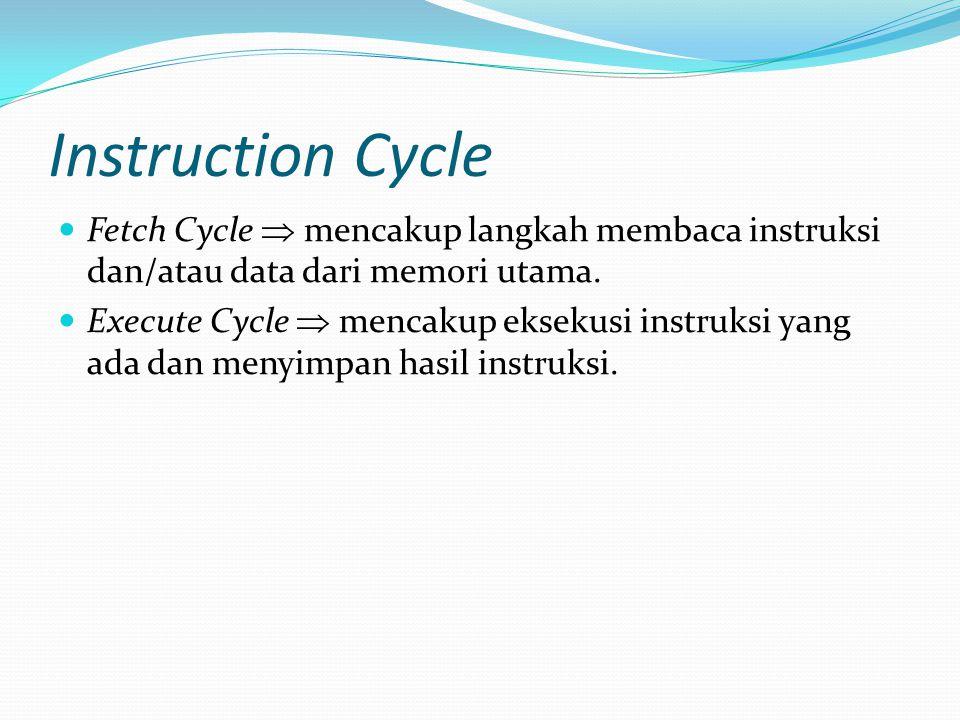 Instruction Cycle Fetch Cycle  mencakup langkah membaca instruksi dan/atau data dari memori utama. Execute Cycle  mencakup eksekusi instruksi yang a