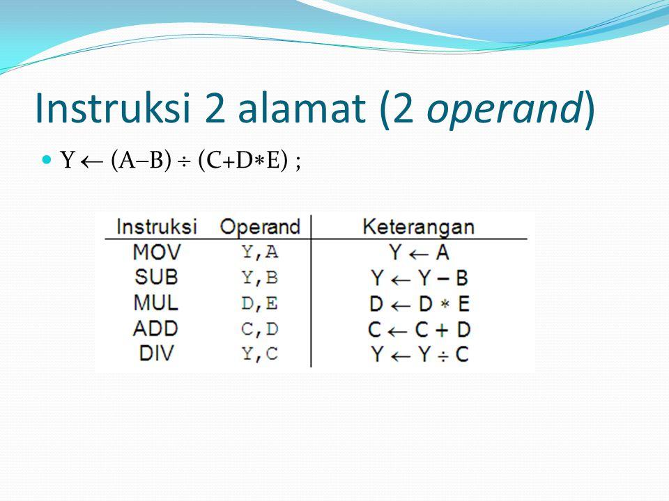 Instruksi 2 alamat (2 operand) Y  (A  B)  (C+D  E) ;