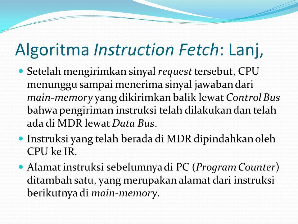 Algoritma Instruction Fetch: Lanj, Setelah mengirimkan sinyal request tersebut, CPU menunggu sampai menerima sinyal jawaban dari main-memory yang diki