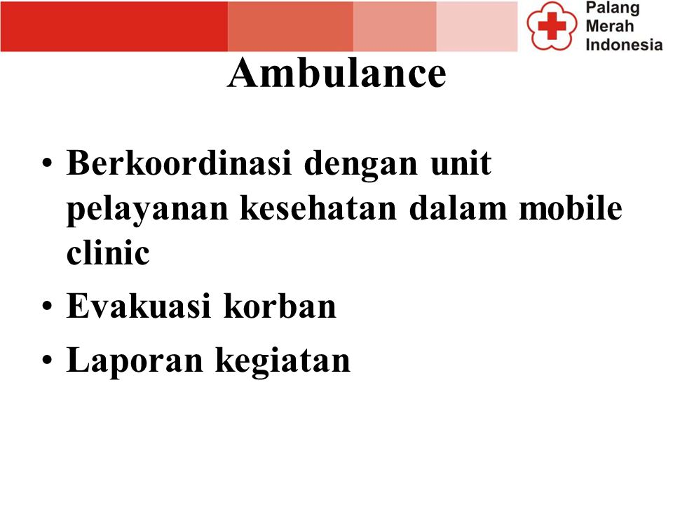 Pelayanan Kesehatan Pelayanan kesehatan darurat Membantu Rumah sakit lapangan Berkoordinasi dengan petugas kesehatan yang lain Rekomendasi kepada koma