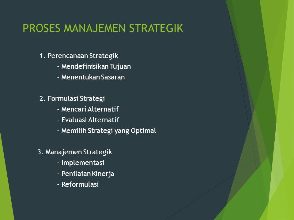 PROSES MANAJEMEN STRATEGIK 1. Perencanaan Strategik - Mendefinisikan Tujuan - Menentukan Sasaran 2. Formulasi Strategi - Mencari Alternatif - Evaluasi