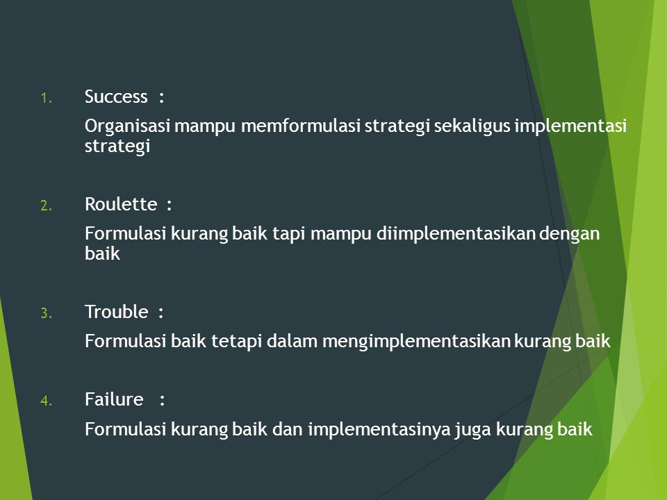1. Success : Organisasi mampu memformulasi strategi sekaligus implementasi strategi 2. Roulette : Formulasi kurang baik tapi mampu diimplementasikan d