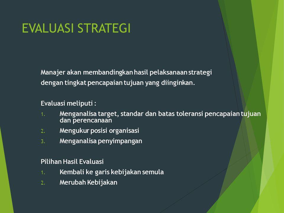 EVALUASI STRATEGI Manajer akan membandingkan hasil pelaksanaan strategi dengan tingkat pencapaian tujuan yang diinginkan. Evaluasi meliputi : 1. Menga