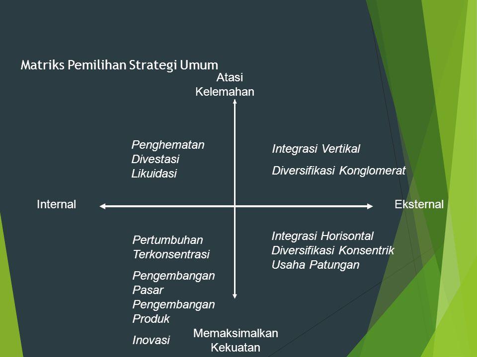 Matriks Pemilihan Strategi Umum Atasi Kelemahan Memaksimalkan Kekuatan Penghematan Divestasi Likuidasi Integrasi Vertikal Diversifikasi Konglomerat Pe