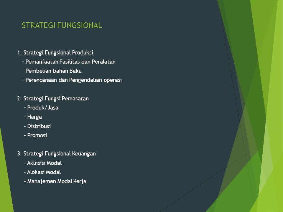 STRATEGI FUNGSIONAL 1. Strategi Fungsional Produksi - Pemanfaatan Fasilitas dan Peralatan - Pembelian bahan Baku - Perencanaan dan Pengendalian operas
