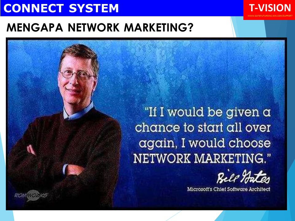 MENGAPA NETWORK MARKETING CONNECT SYSTEM T-VISION WWW.GATEFUTUREINC.WIX.COM/SUPPORT