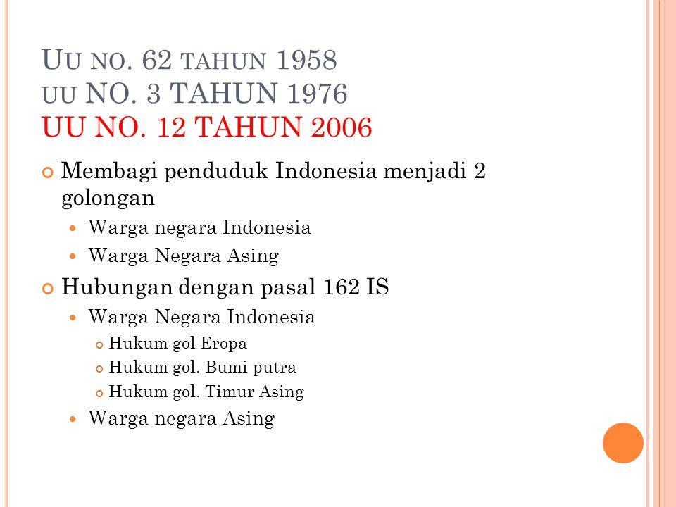 U U NO. 62 TAHUN 1958 UU NO. 3 TAHUN 1976 UU NO. 12 TAHUN 2006 Membagi penduduk Indonesia menjadi 2 golongan Warga negara Indonesia Warga Negara Asing