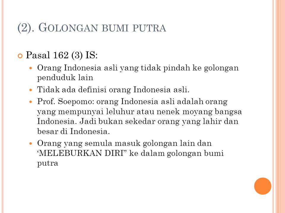 (2). G OLONGAN BUMI PUTRA Pasal 162 (3) IS: Orang Indonesia asli yang tidak pindah ke golongan penduduk lain Tidak ada definisi orang Indonesia asli.