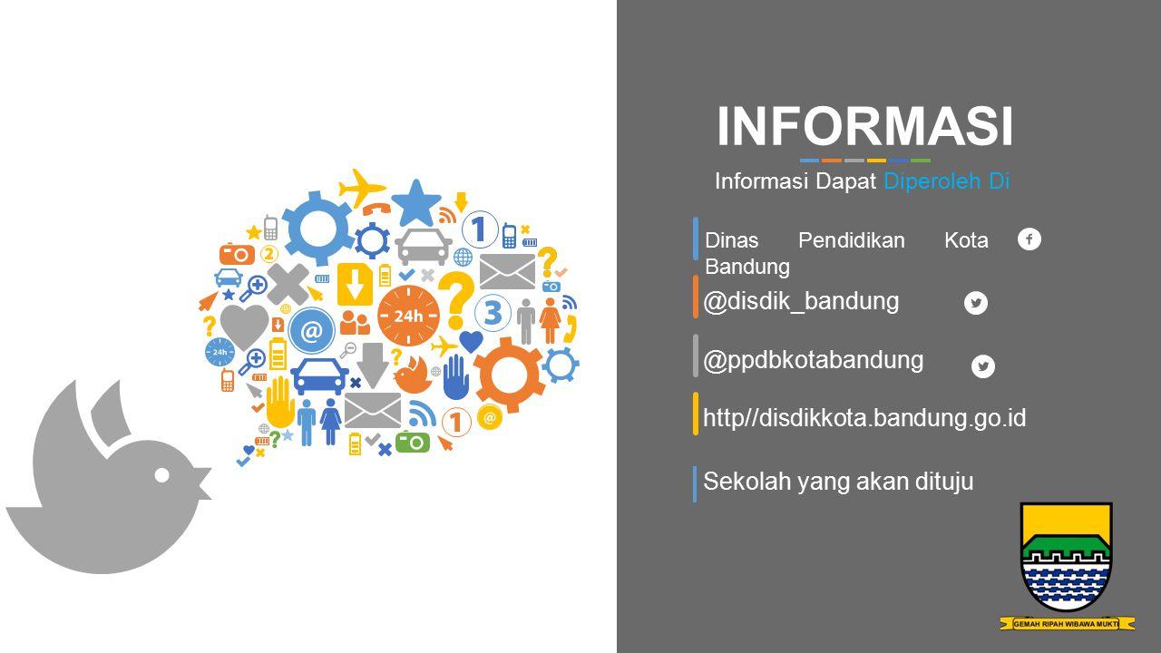 Dinas Pendidikan Kota Bandung @disdik_bandung @ppdbkotabandung http//disdikkota.bandung.go.id INFORMASI Informasi Dapat Diperoleh Di Sekolah yang akan dituju