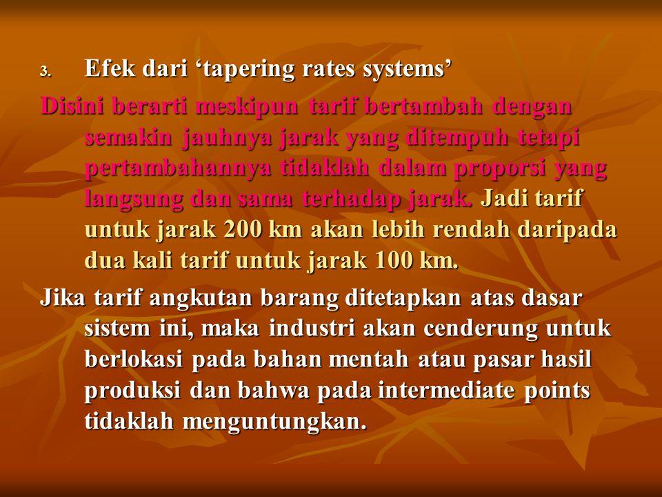 3. Efek dari 'tapering rates systems' Disini berarti meskipun tarif bertambah dengan semakin jauhnya jarak yang ditempuh tetapi pertambahannya tidakla