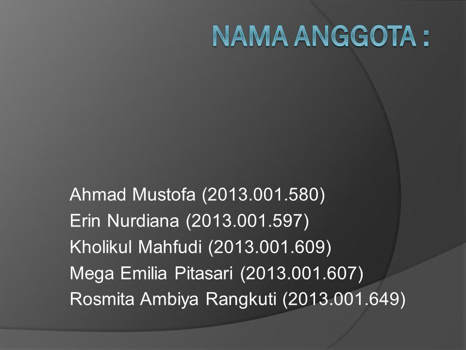 Ahmad Mustofa (2013.001.580) Erin Nurdiana (2013.001.597) Kholikul Mahfudi (2013.001.609) Mega Emilia Pitasari (2013.001.607) Rosmita Ambiya Rangkuti (2013.001.649)