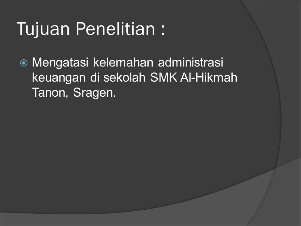 Keaslian Penelitian :  PERANCANGAN DAN IMPLEMENTASI SISTEM INFORMASI ADMINISTRASI KEUANGAN BERBASIS WEB MENGGUNAKAN UML(UNIFIED MODELING LANGUAGE), Naili qurota a'yuni(2011)-  SISTEMADMINISTRASISEKOLAH DASAR DENGANMENGGUNAKAN SMAGATEWAY, DimasMegaHadisaPutra(2012), SDLC (Waterfall), Dalam bagian tujuan penelitian tidak menjawab perumusan masalah yang seharusnya menjelaskan rumusan masalah yang dibuat, Metode yang digunakan dalam penggunaan data lengkap dari metode literature sampai analisis data.