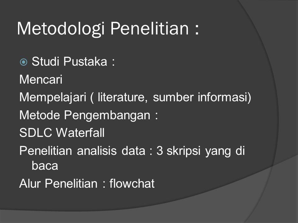 Metodologi Penelitian :  Studi Pustaka : Mencari Mempelajari ( literature, sumber informasi) Metode Pengembangan : SDLC Waterfall Penelitian analisis data : 3 skripsi yang di baca Alur Penelitian : flowchat