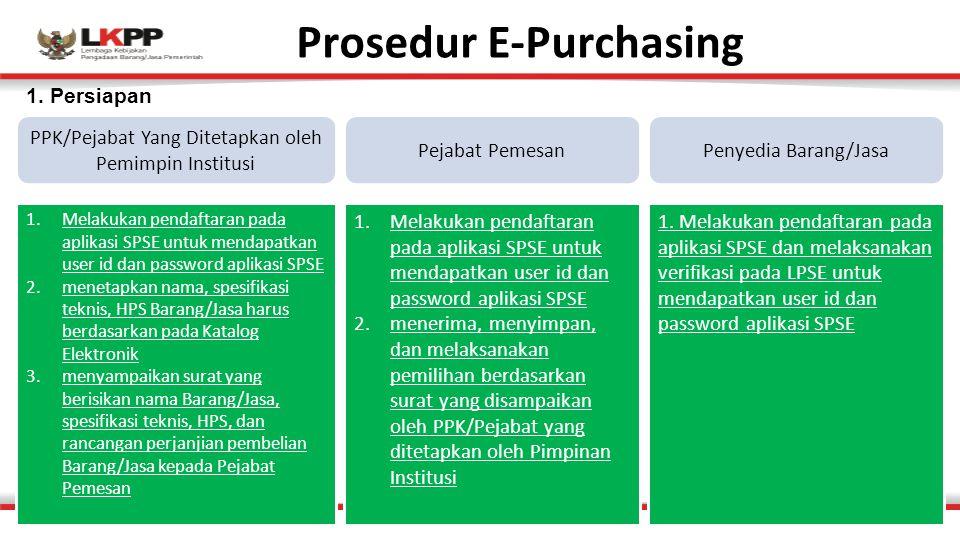 Prosedur E-Purchasing PPK/Pejabat Yang Ditetapkan oleh Pemimpin Institusi 1.