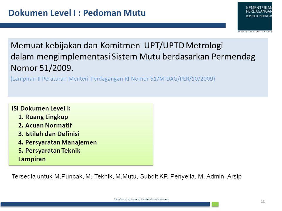 The Ministry of Trade of the Republic of Indonesia Dokumen Level I : Pedoman Mutu 10 Memuat kebijakan dan Komitmen UPT/UPTD Metrologi dalam mengimplem
