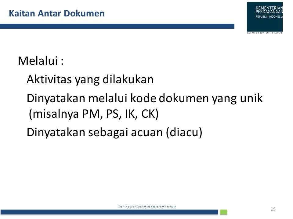 The Ministry of Trade of the Republic of Indonesia Kaitan Antar Dokumen 19 Melalui : Aktivitas yang dilakukan Dinyatakan melalui kode dokumen yang uni