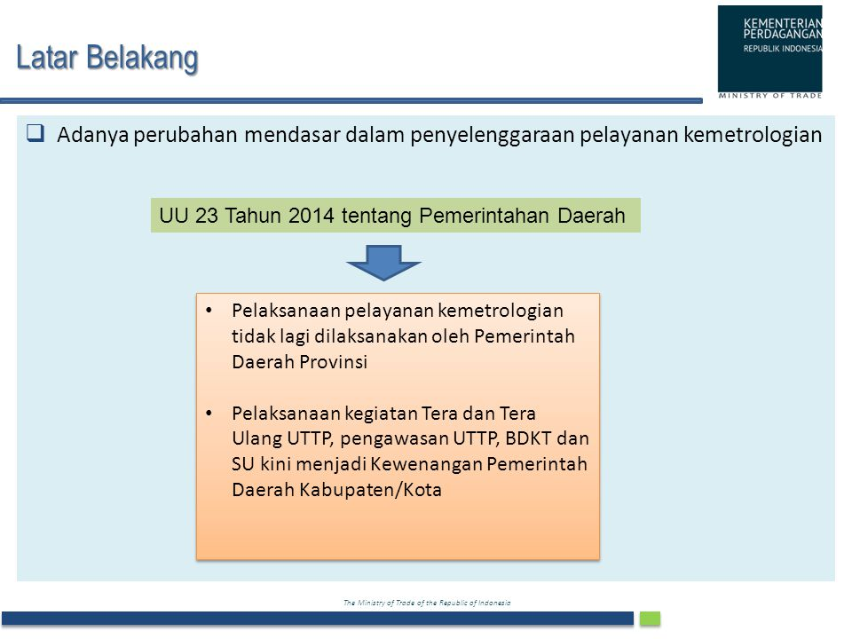 The Ministry of Trade of the Republic of Indonesia Latar Belakang Latar Belakang  Adanya perubahan mendasar dalam penyelenggaraan pelayanan kemetrolo