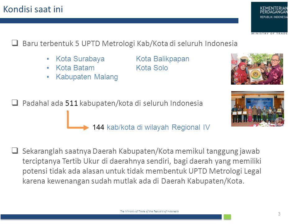 The Ministry of Trade of the Republic of Indonesia Kondisi saat ini  Baru terbentuk 5 UPTD Metrologi Kab/Kota di seluruh Indonesia  Padahal ada 511