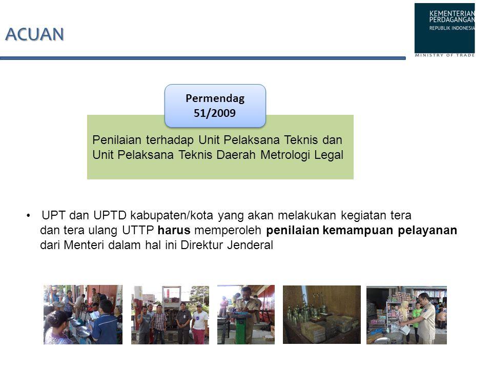 ACUAN Penilaian terhadap Unit Pelaksana Teknis dan Unit Pelaksana Teknis Daerah Metrologi Legal Permendag 51/2009 UPT dan UPTD kabupaten/kota yang aka