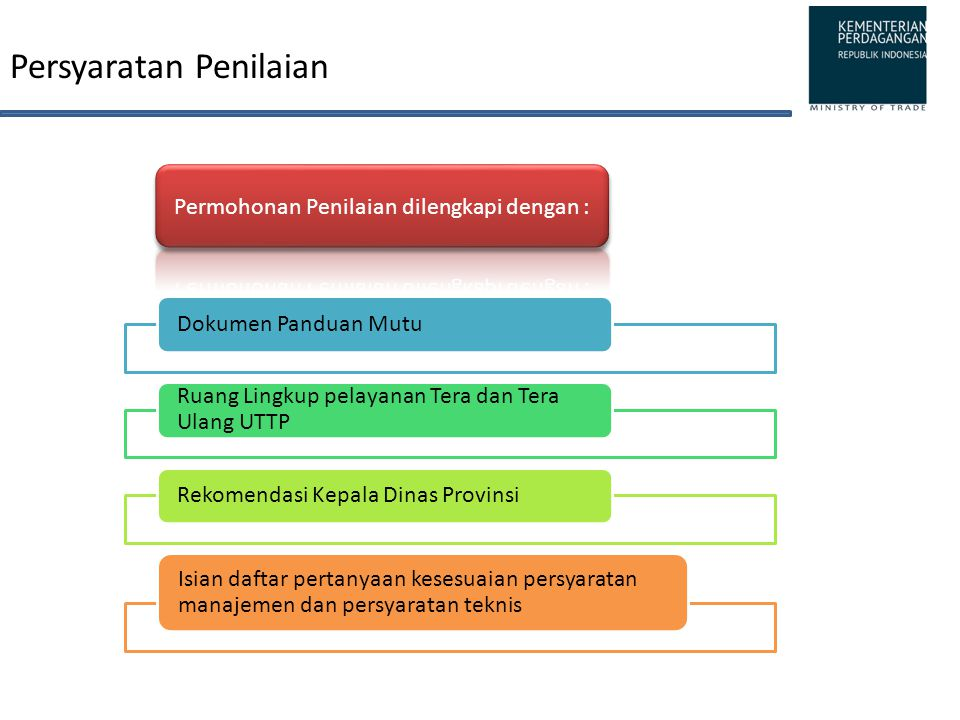 Persyaratan Penilaian Dokumen Panduan Mutu Ruang Lingkup pelayanan Tera dan Tera Ulang UTTP Rekomendasi Kepala Dinas Provinsi Isian daftar pertanyaan