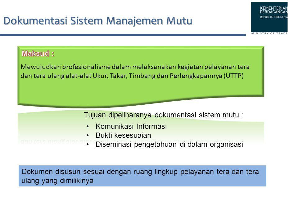 Dokumentasi Sistem Manajemen Mutu Dokumen disusun sesuai dengan ruang lingkup pelayanan tera dan tera ulang yang dimilikinya Komunikasi Informasi Bukt