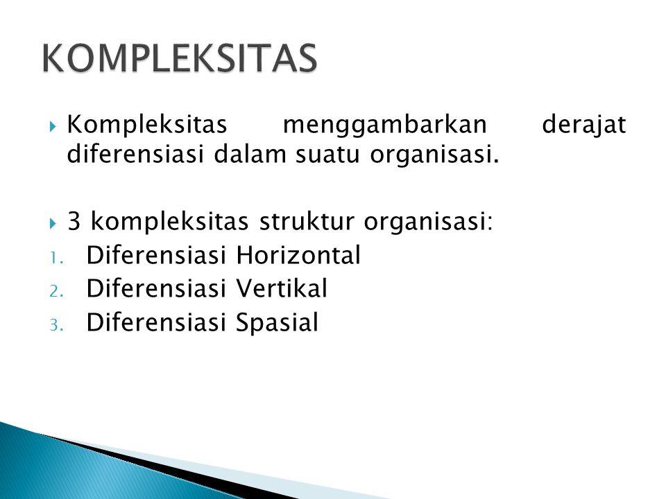  Kompleksitas menggambarkan derajat diferensiasi dalam suatu organisasi.  3 kompleksitas struktur organisasi: 1. Diferensiasi Horizontal 2. Diferens