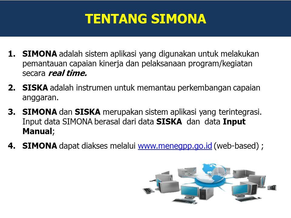 TENTANG SIMONA 1.SIMONA adalah sistem aplikasi yang digunakan untuk melakukan pemantauan capaian kinerja dan pelaksanaan program/kegiatan secara real time.