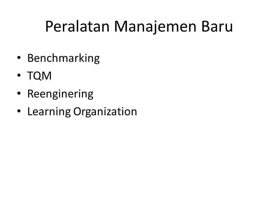 Peralatan Manajemen Baru Benchmarking TQM Reenginering Learning Organization