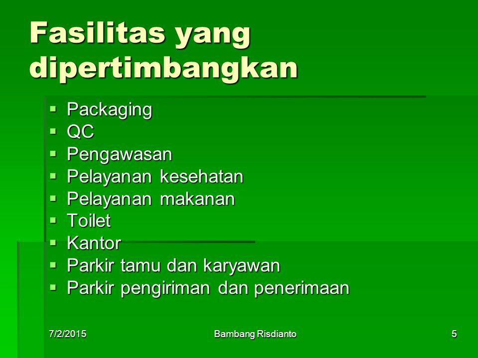 7/2/2015Bambang Risdianto6 Contoh metode fasilitas industri MesinJmlUkuranLuas (m 2 ) Luas total (m 2 ) Allow Keb.