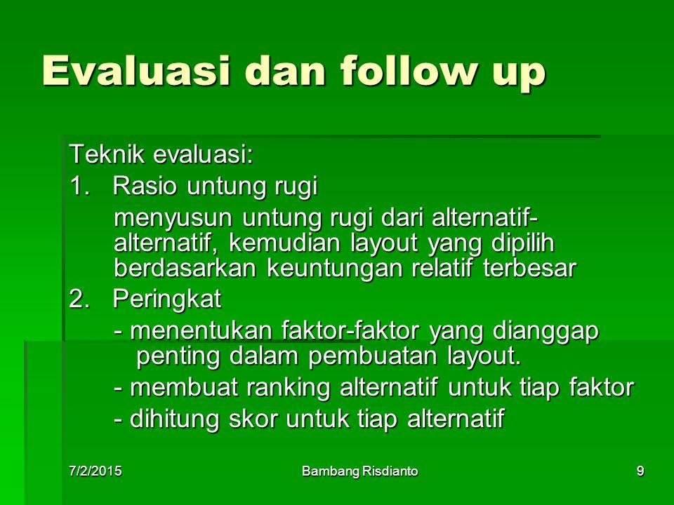 7/2/2015Bambang Risdianto9 Evaluasi dan follow up Teknik evaluasi: 1. Rasio untung rugi menyusun untung rugi dari alternatif- alternatif, kemudian lay