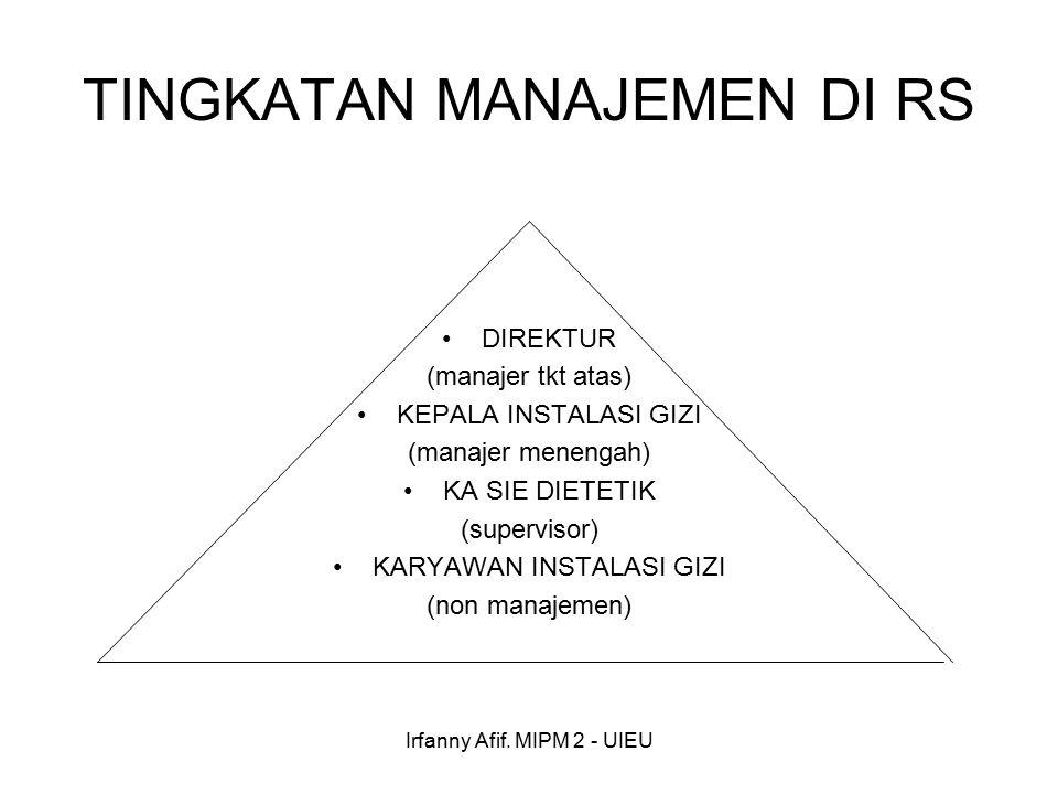 Irfanny Afif. MIPM 2 - UIEU TINGKATAN MANAJEMEN DI RS DIREKTUR (manajer tkt atas) KEPALA INSTALASI GIZI (manajer menengah) KA SIE DIETETIK (supervisor